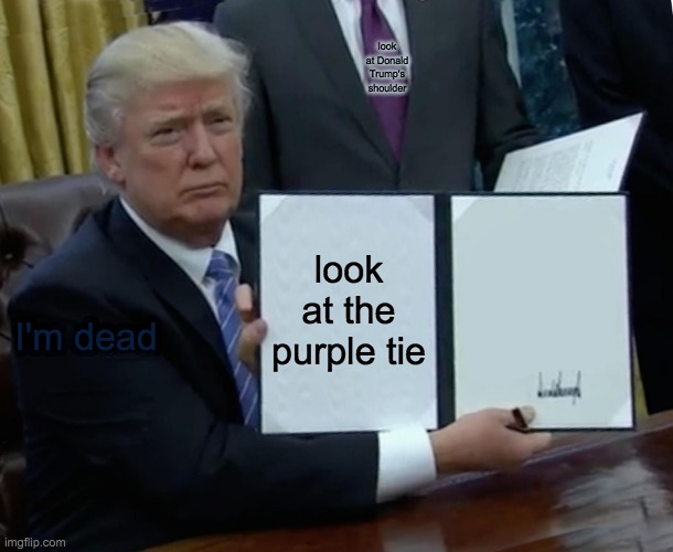 Idk either |  look at Donald Trump's shoulder; look at the purple tie; I'm dead | image tagged in memes,trump bill signing,idk,look,scavenger hunt,oh | made w/ Imgflip meme maker