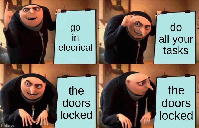 Gru's Plan |  go in elecrical; do all your tasks; the doors locked; the doors locked | image tagged in memes,gru's plan | made w/ Imgflip meme maker