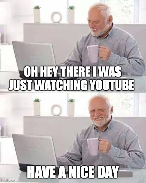 ive run out of ideas so have a nice day |  OH HEY THERE I WAS JUST WATCHING YOUTUBE; HAVE A NICE DAY | image tagged in memes,hide the pain harold | made w/ Imgflip meme maker