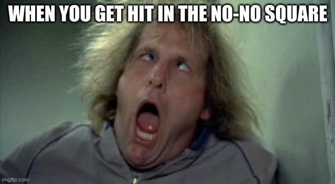Scary Harry |  WHEN YOU GET HIT IN THE NO-NO SQUARE | image tagged in memes,scary harry | made w/ Imgflip meme maker