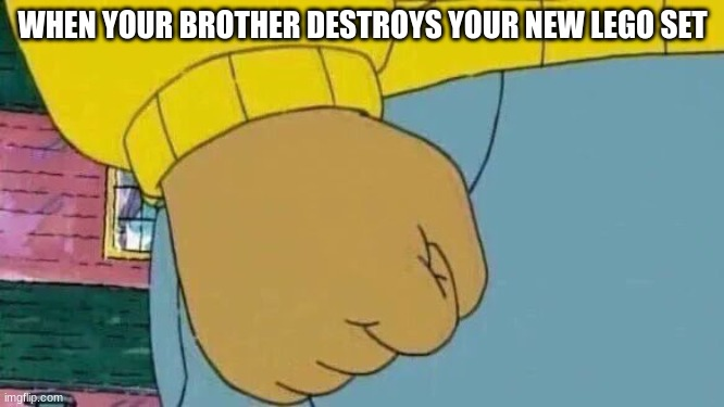 Arthur Fist |  WHEN YOUR BROTHER DESTROYS YOUR NEW LEGO SET | image tagged in memes,arthur fist | made w/ Imgflip meme maker