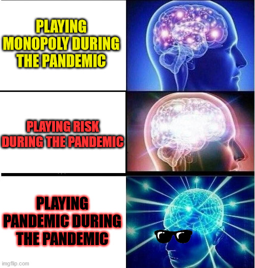 Covid Operations |  PLAYING MONOPOLY DURING THE PANDEMIC; PLAYING RISK DURING THE PANDEMIC; PLAYING PANDEMIC DURING THE PANDEMIC | image tagged in expanding brain 3 panels,boardgames,game,covid,pandemic | made w/ Imgflip meme maker