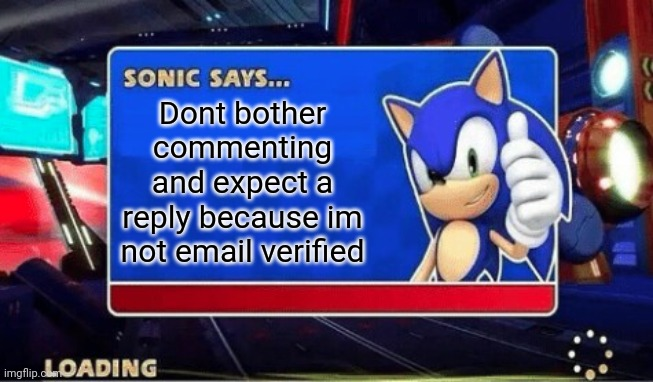Sonic Says |  Dont bother commenting and expect a reply because im not email verified | image tagged in sonic says | made w/ Imgflip meme maker