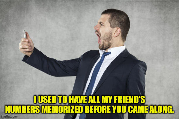 First World Problems |  I USED TO HAVE ALL MY FRIEND'S NUMBERS MEMORIZED BEFORE YOU CAME ALONG. | image tagged in cell phone,phone number,memory | made w/ Imgflip meme maker