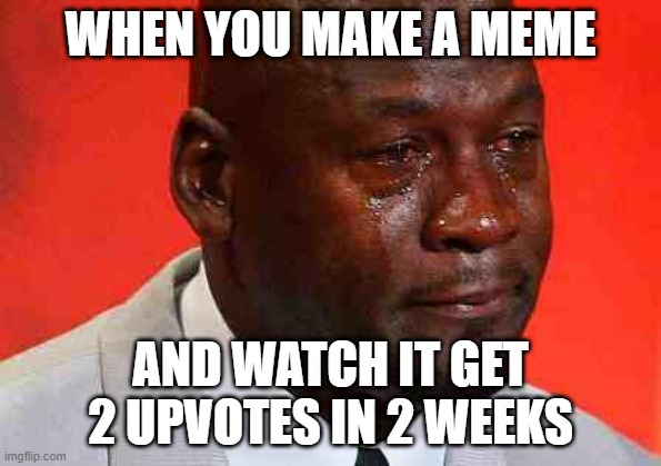 well at least i tried |  WHEN YOU MAKE A MEME; AND WATCH IT GET 2 UPVOTES IN 2 WEEKS | image tagged in crying michael jordan | made w/ Imgflip meme maker