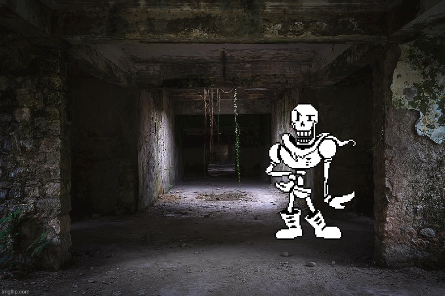 Papyrus go to the abandoned building | image tagged in papyrus | made w/ Imgflip meme maker