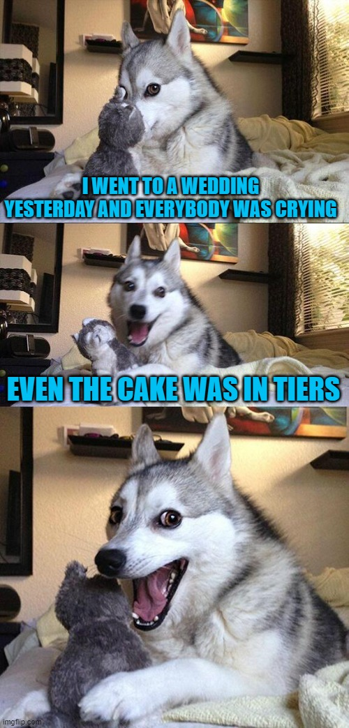 The Wedding |  I WENT TO A WEDDING YESTERDAY AND EVERYBODY WAS CRYING; EVEN THE CAKE WAS IN TIERS | image tagged in bad pun dog,wedding,cake,crying | made w/ Imgflip meme maker