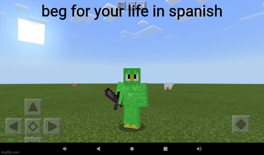 Beg for your life in spanish. |  beg for your life in spanish | image tagged in duolingo bird,beg for your life in spanish | made w/ Imgflip meme maker
