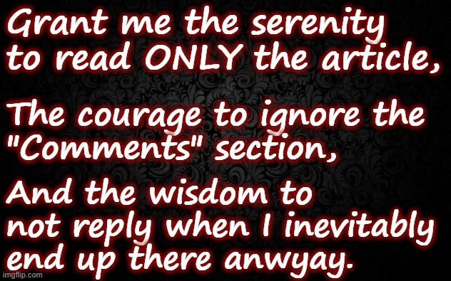 "Comments do not bring Serenity |  Grant me the serenity to read ONLY the article, The courage to ignore the  ""Comments"" section, And the wisdom to not reply when I inevitably end up there anwyay. 
