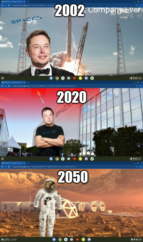 History Of SpaceX |  2002; 2020; 2050 | image tagged in elon musk,mars,spacex,space,astronaut | made w/ Imgflip meme maker