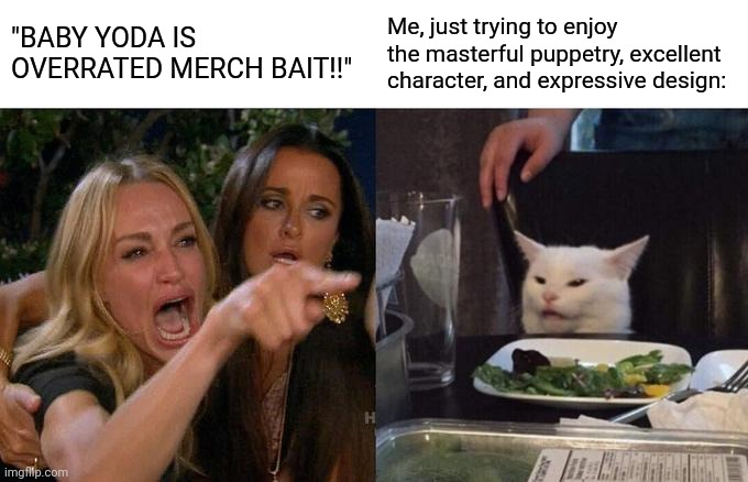 "Honestly though, it is an amazing puppet, I mean look at the detail on him it's so beautiful |  ""BABY YODA IS OVERRATED MERCH BAIT!!""; Me, just trying to enjoy the masterful puppetry, excellent character, and expressive design: 