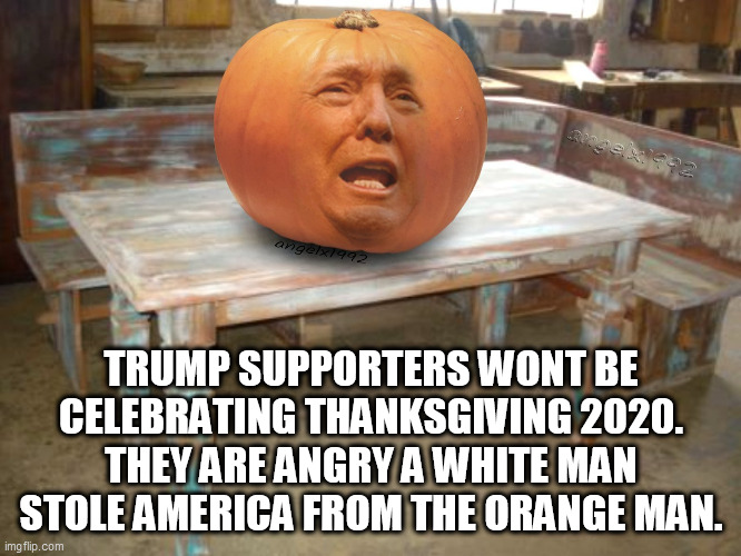 trump |  TRUMP SUPPORTERS WONT BE CELEBRATING THANKSGIVING 2020. THEY ARE ANGRY A WHITE MAN STOLE AMERICA FROM THE ORANGE MAN. | image tagged in trump,thanksgiving,biden,orange,native american,thanksgiving day | made w/ Imgflip meme maker