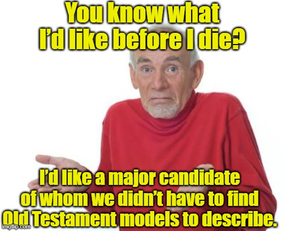 Guess I'll be deaf |  You know what I'd like before I die? I'd like a major candidate of whom we didn't have to find Old Testament models to describe. | image tagged in guess i'll be deaf,old people,hold my beer,presidential race,donald trump is an idiot | made w/ Imgflip meme maker