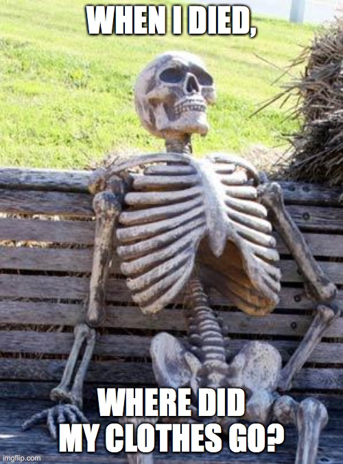 Honey, where are my Paaaaaaaaaants |  WHEN I DIED, WHERE DID MY CLOTHES GO? | image tagged in memes,waiting skeleton | made w/ Imgflip meme maker