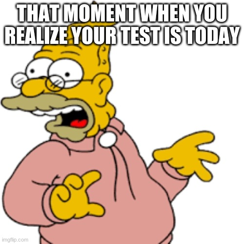 Grandpa simpsons memory |  THAT MOMENT WHEN YOU REALIZE YOUR TEST IS TODAY | image tagged in memes,school,school sucks | made w/ Imgflip meme maker