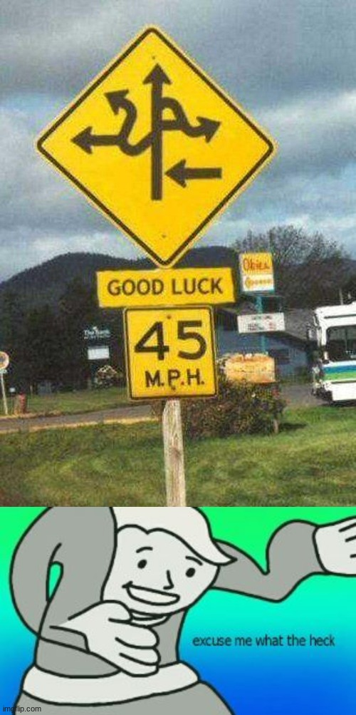 Breaking news! this just in, thousands of cars are involved in a car crash right next to this sign | image tagged in excuse me what the heck,memes,confusing,signs,funny signs,you had one job | made w/ Imgflip meme maker