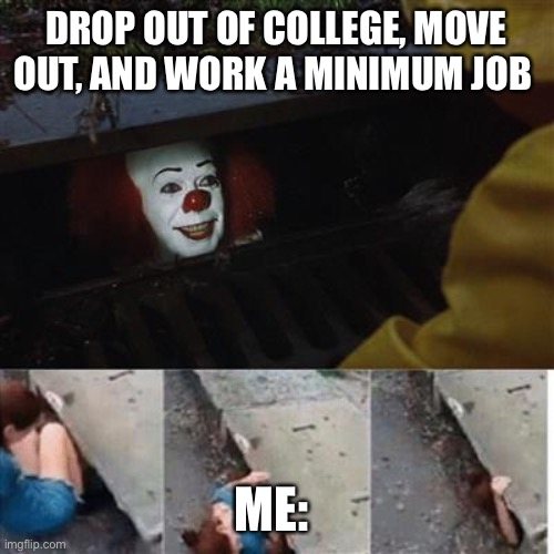 pennywise in sewer |  DROP OUT OF COLLEGE, MOVE OUT, AND WORK A MINIMUM JOB; ME: | image tagged in pennywise in sewer | made w/ Imgflip meme maker