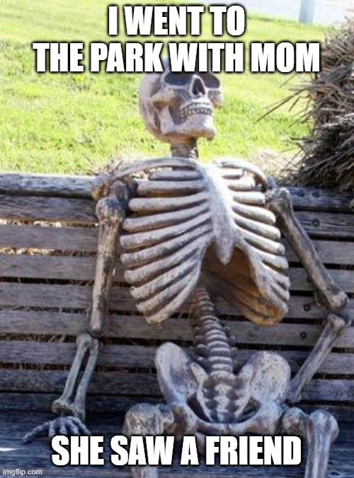 Waiting Skeleton Meme |  I WENT TO THE PARK WITH MOM; SHE SAW A FRIEND | image tagged in memes,waiting skeleton | made w/ Imgflip meme maker