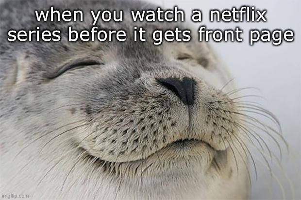 like community |  when you watch a netflix series before it gets front page | image tagged in memes,satisfied seal | made w/ Imgflip meme maker