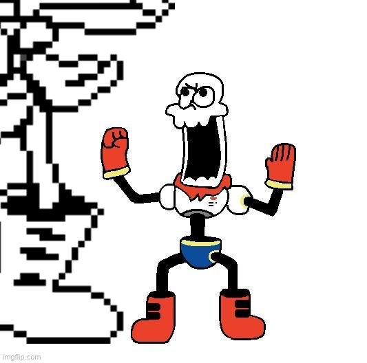 Papyrus go to the white void and meet tiny Papyrus | image tagged in papyrus | made w/ Imgflip meme maker