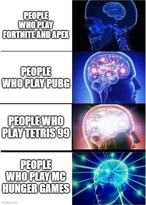 Expanding Brain Meme |  PEOPLE WHO PLAY FORTNITE AND APEX; PEOPLE WHO PLAY PUBG; PEOPLE WHO PLAY TETRIS 99; PEOPLE WHO PLAY MC HUNGER GAMES | image tagged in memes,expanding brain | made w/ Imgflip meme maker