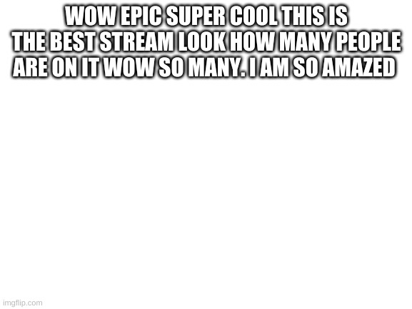 epic |  WOW EPIC SUPER COOL THIS IS THE BEST STREAM LOOK HOW MANY PEOPLE ARE ON IT WOW SO MANY. I AM SO AMAZED | image tagged in blank white template | made w/ Imgflip meme maker