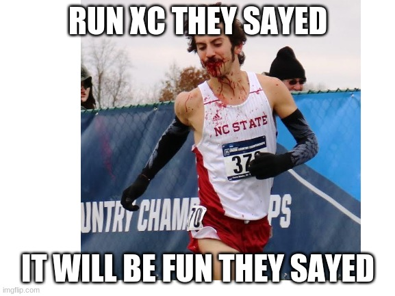 xc fail |  RUN XC THEY SAYED; IT WILL BE FUN THEY SAYED | image tagged in xc,red,hurt,race,no,tes | made w/ Imgflip meme maker