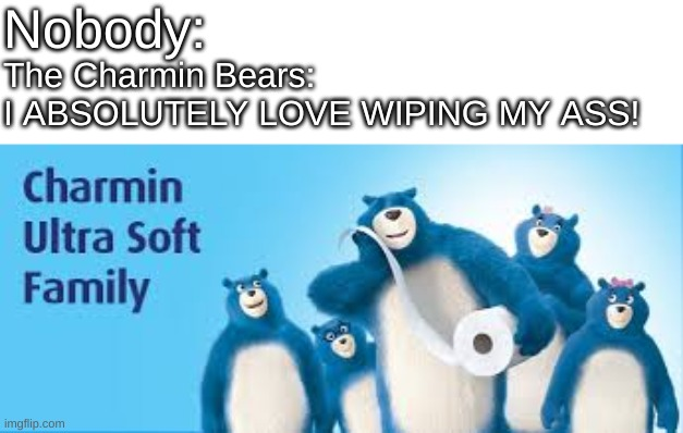 Nobody:; The Charmin Bears:  I ABSOLUTELY LOVE WIPING MY ASS! | image tagged in charmin,memes,funny,funny memes,toilet paper,nobody | made w/ Imgflip meme maker
