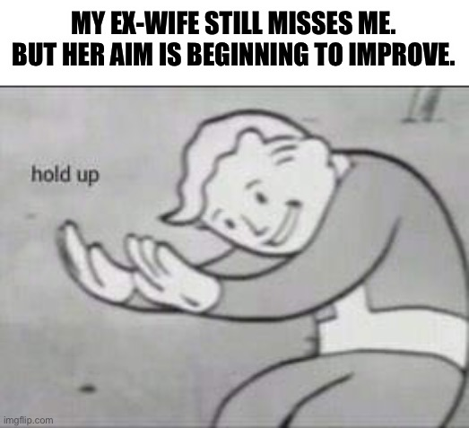 Wait a minute... |  MY EX-WIFE STILL MISSES ME. BUT HER AIM IS BEGINNING TO IMPROVE. | image tagged in fallout hold up,memes,funny,stupid jokes,ex-wife,shooting | made w/ Imgflip meme maker