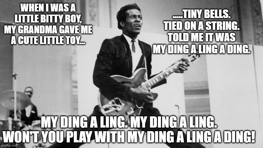 chuck berry | WHEN I WAS A LITTLE BITTY BOY, MY GRANDMA GAVE ME A CUTE LITTLE TOY... .....TINY BELLS. TIED ON A STRING. TOLD ME IT WAS MY DING A LING A DI | image tagged in chuck berry | made w/ Imgflip meme maker
