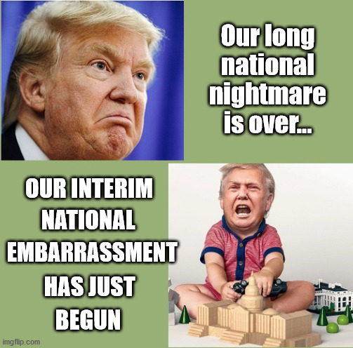 He Needs to be Changed |  Our long national nightmare is over... OUR INTERIM; NATIONAL; EMBARRASSMENT; HAS JUST; BEGUN | image tagged in trump,donald trump,trump supporters,donald trump sulk,trump meme,donald trump approves | made w/ Imgflip meme maker