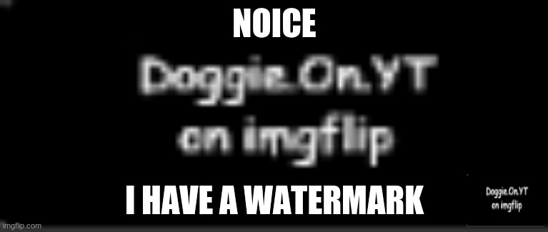 Doggie.On.YT watermark |  NOICE; I HAVE A WATERMARK | image tagged in doggie on yt watermark | made w/ Imgflip meme maker