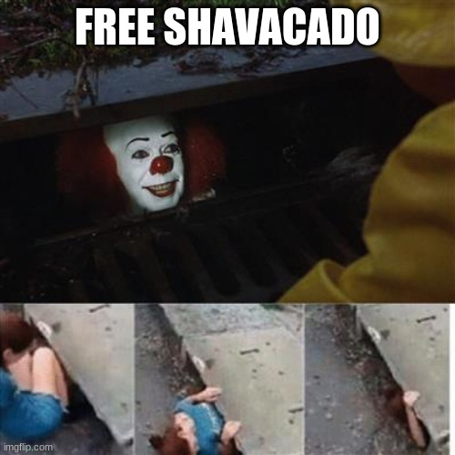 pennywise in sewer |  FREE SHAVACADO | image tagged in pennywise in sewer | made w/ Imgflip meme maker