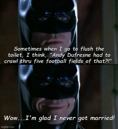"Deep Knight Thoughts |  Sometimes when I go to flush the toilet, I think, ""Andy Dufresne had to crawl thru five football fields of that?!""; Wow...I'm glad I never got married! 