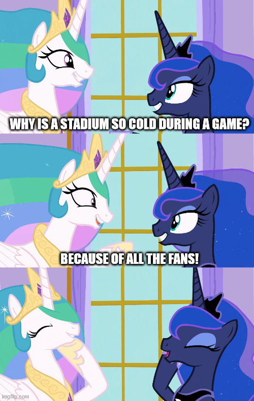 Pun Celestia |  WHY IS A STADIUM SO COLD DURING A GAME? BECAUSE OF ALL THE FANS! | image tagged in princess celestia,princess luna,puns,mlp,funny | made w/ Imgflip meme maker