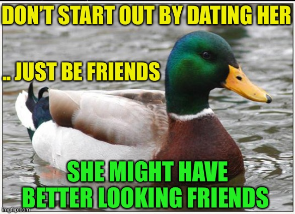 Thank me later ;-) |  DON'T START OUT BY DATING HER; .. JUST BE FRIENDS; SHE MIGHT HAVE BETTER LOOKING FRIENDS | image tagged in actual advice mallard,hedge your bets,dating,caution,easy out,smart guy | made w/ Imgflip meme maker