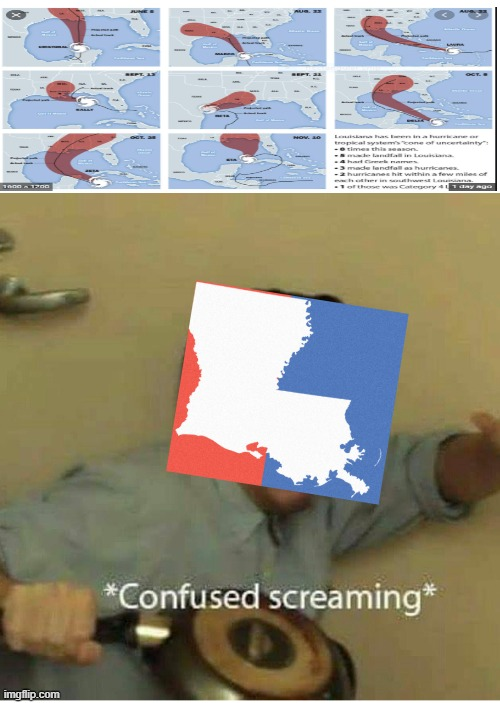 Hurricanes in 2020 | image tagged in confused screaming | made w/ Imgflip meme maker