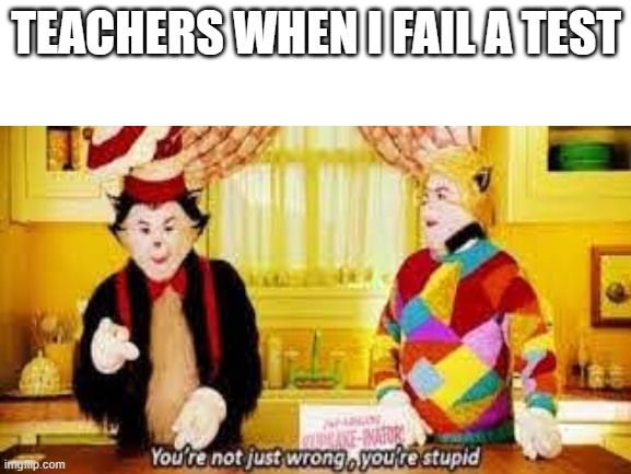 School tests |  TEACHERS WHEN I FAIL A TEST | image tagged in cat in the hat | made w/ Imgflip meme maker