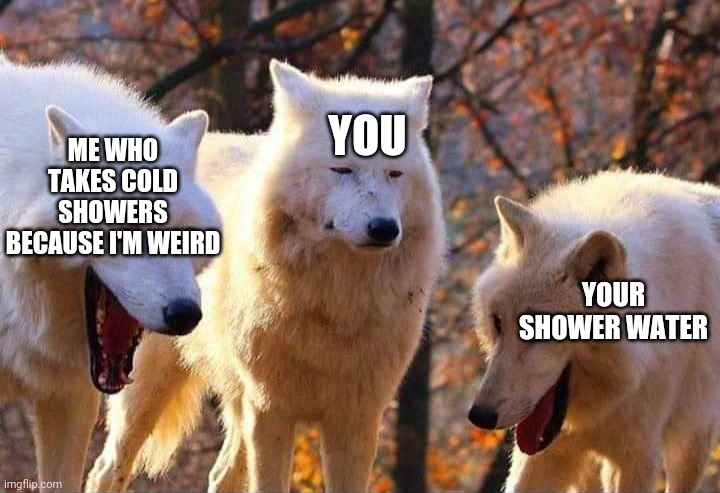 Laughing wolf | ME WHO TAKES COLD SHOWERS BECAUSE I'M WEIRD YOUR SHOWER WATER YOU | image tagged in laughing wolf | made w/ Imgflip meme maker