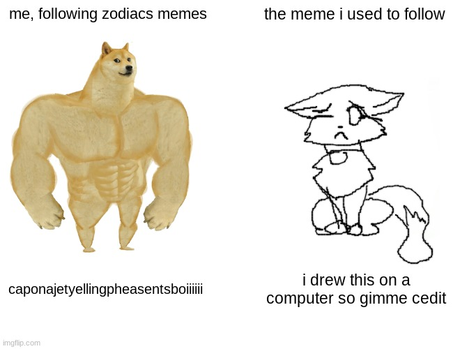 a |  me, following zodiacs memes; the meme i used to follow; caponajetyellingpheasentsboiiiiii; i drew this on a computer so gimme cedit | image tagged in memes,buff doge vs cheems | made w/ Imgflip meme maker