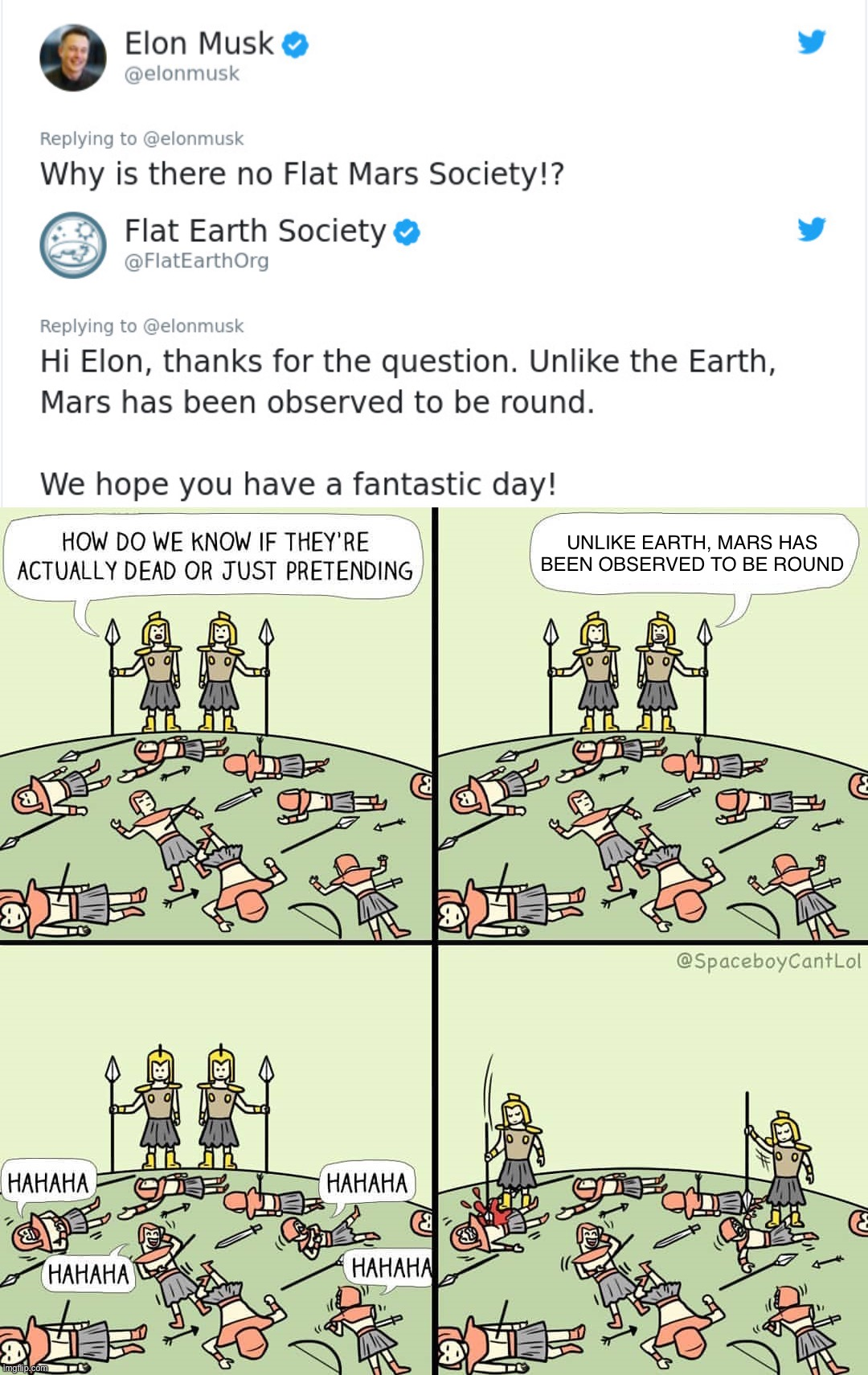 Mars Ain't Flat (at least) |  UNLIKE EARTH, MARS HAS BEEN OBSERVED TO BE ROUND | image tagged in flat earth,flat earthers,science,mars,sci-fi,astronomy | made w/ Imgflip meme maker