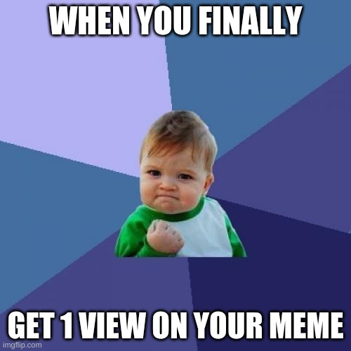 1 View |  WHEN YOU FINALLY; GET 1 VIEW ON YOUR MEME | image tagged in memes,success kid,imgflip,funny,upvotes,happy | made w/ Imgflip meme maker