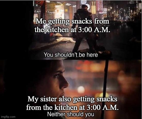 You shouldn't be here, Neither should you |  Me getting snacks from the kitchen at 3:00 A.M. My sister also getting snacks from the kitchen at 3:00 A.M. | image tagged in you shouldn't be here neither should you | made w/ Imgflip meme maker