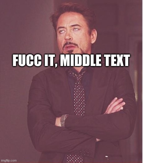 middle text |  FUCC IT, MIDDLE TEXT | image tagged in memes,face you make robert downey jr | made w/ Imgflip meme maker
