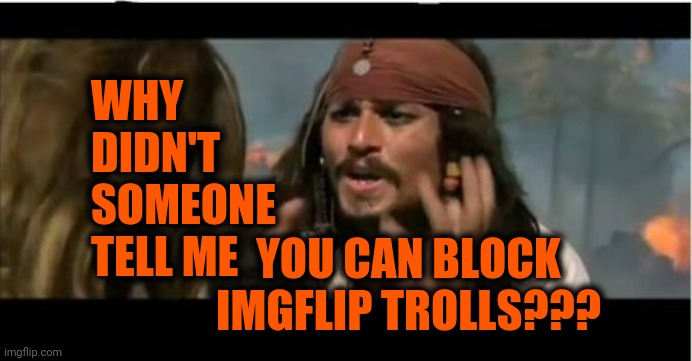 Seems Like Need To Know Information |  WHY DIDN'T SOMEONE TELL ME; YOU CAN BLOCK IMGFLIP TROLLS??? | image tagged in memes,why is the rum gone,imgflip trolls,imgflip users,meanwhile on imgflip,imgflip news | made w/ Imgflip meme maker