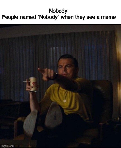 "Nobody |  Nobody: People named ""Nobody"" when they see a meme 