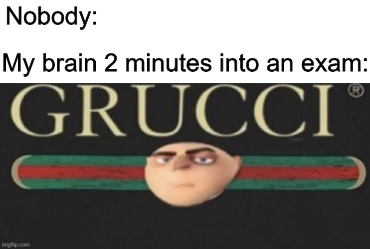 Grucci |  Nobody:; My brain 2 minutes into an exam: | image tagged in memes,funny,gru,exams,gucci | made w/ Imgflip meme maker