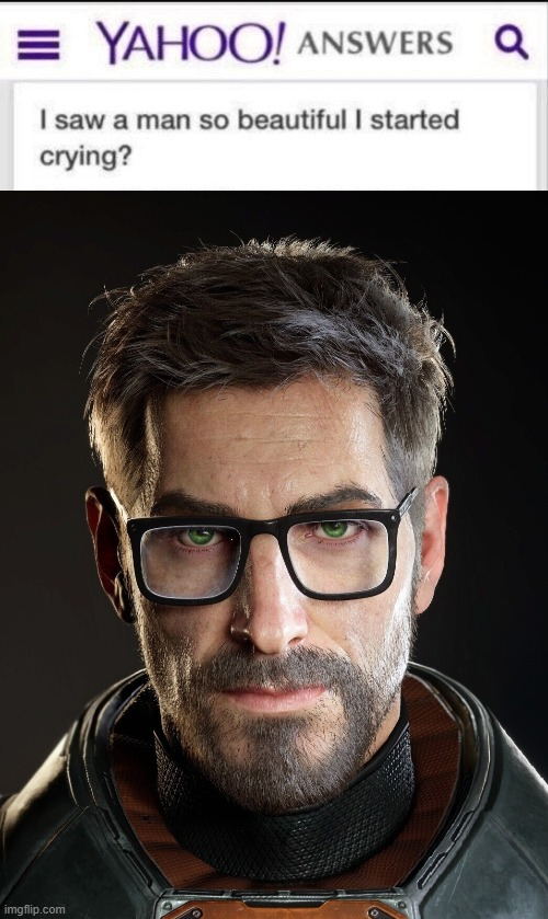High Res Gordon got me simping ngl | image tagged in i saw a man so beautiful i started crying,gordon freeman,high res,oh no he's hot,half life 3,half life | made w/ Imgflip meme maker