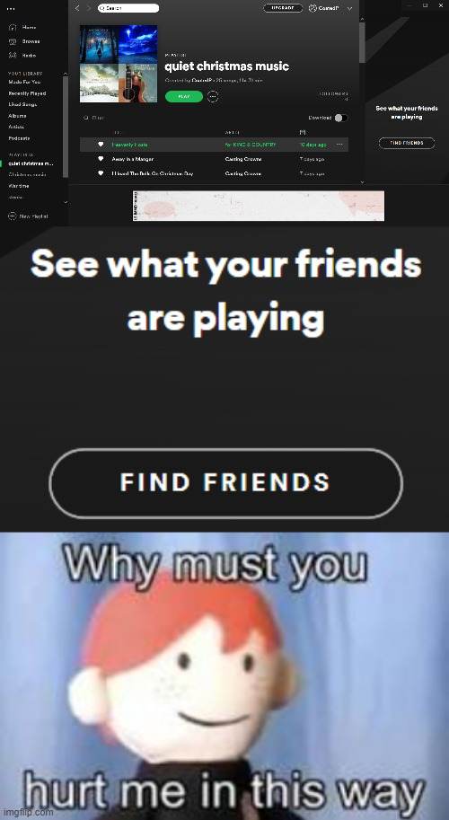 why spotify | image tagged in why must you hurt me in this way | made w/ Imgflip meme maker