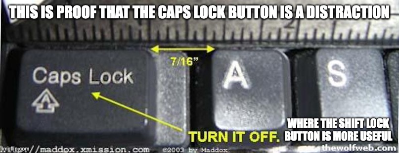 Caps Lock Button |  THIS IS PROOF THAT THE CAPS LOCK BUTTON IS A DISTRACTION; WHERE THE SHIFT LOCK BUTTON IS MORE USEFUL | image tagged in memes,keyboard,caps lock | made w/ Imgflip meme maker